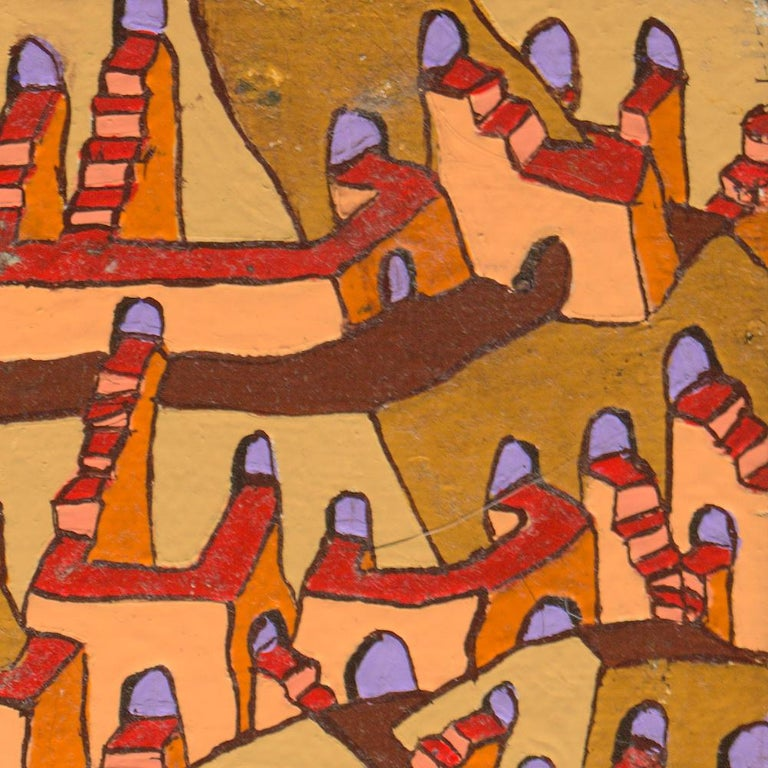Pyramids with Countless Stairs and Arches Doors Oil Painting For Sale 5