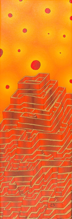 Red Labyrinth Mountain and Glowing Red Spheres in the Orange Sky Oil Painting