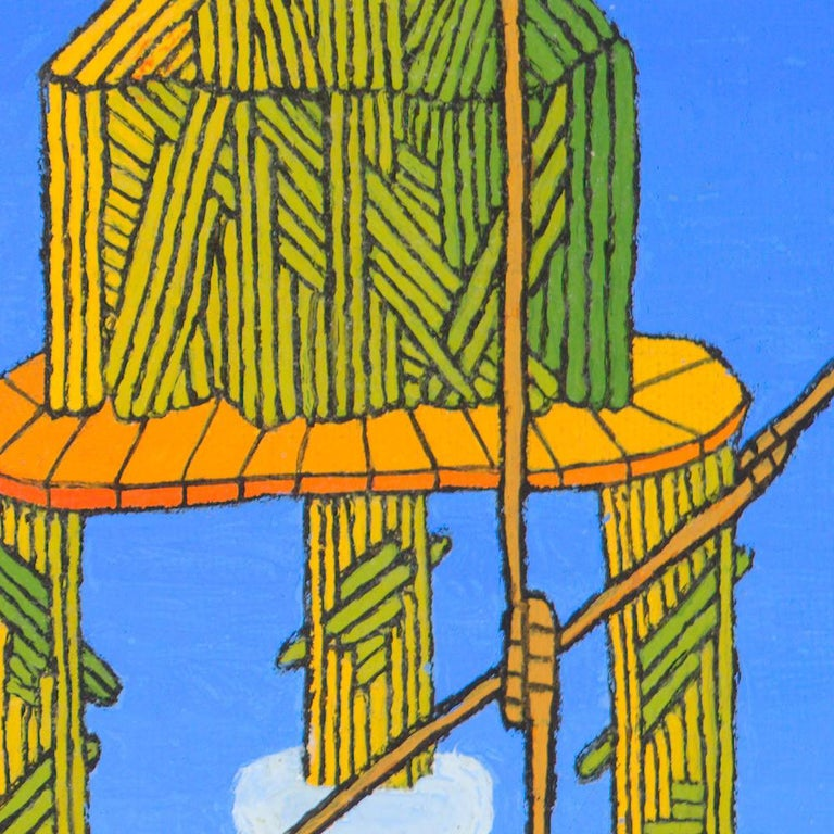 Wood or Straw Houses on Stilts at Dawn or Twilight Oil Painting For Sale 7