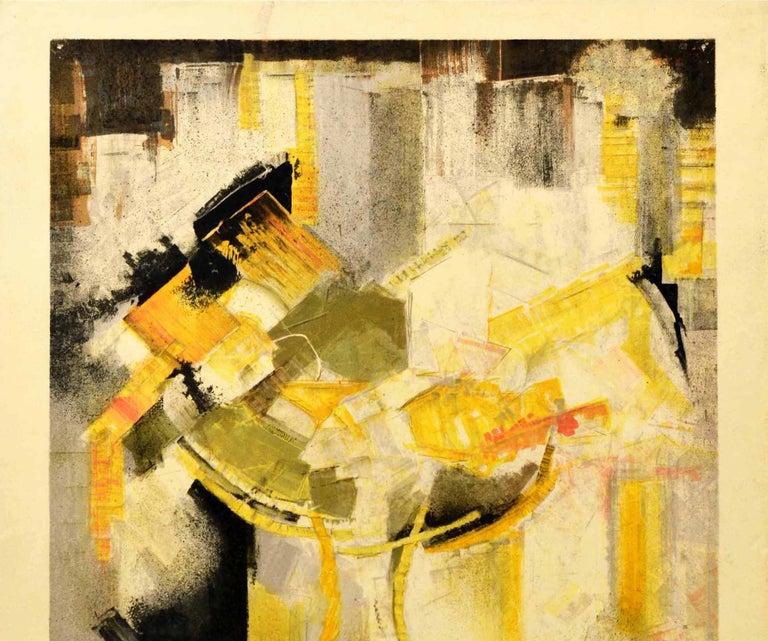 Original Vintage Exhibition Poster Abstract Artist JM Calmettes Galerie De Poche - Print by Jean-Marie Calmettes