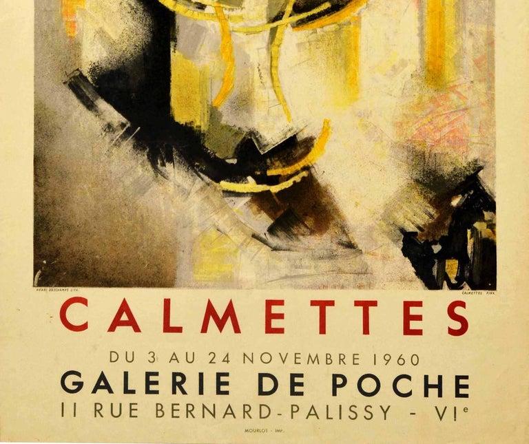 Original Vintage Exhibition Poster Abstract Artist JM Calmettes Galerie De Poche - Orange Print by Jean-Marie Calmettes