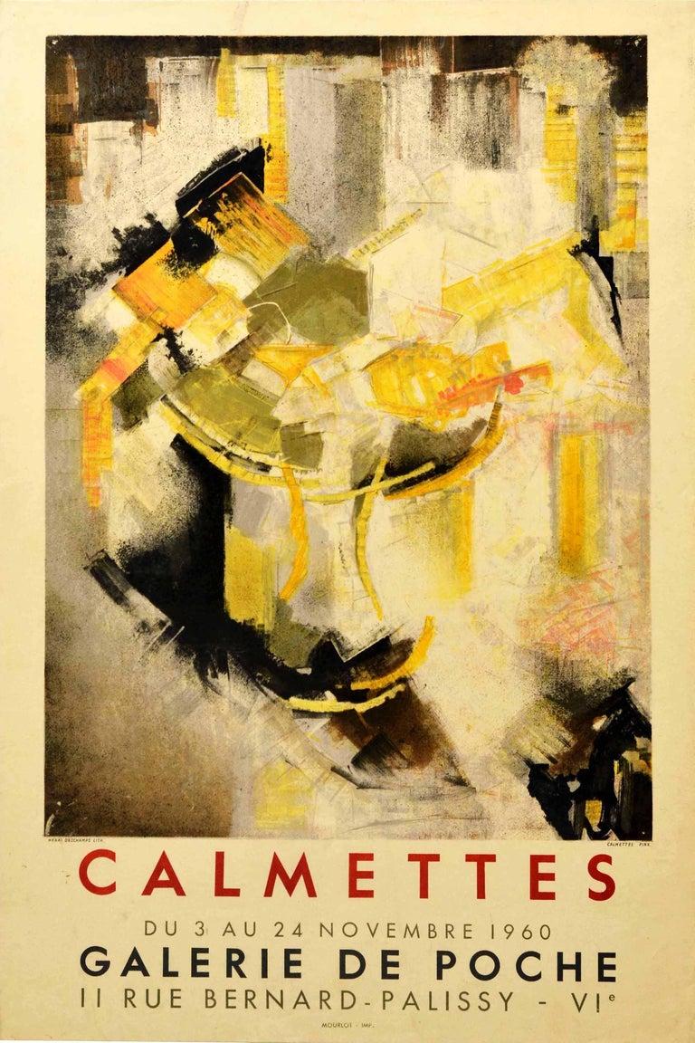 Jean-Marie Calmettes Print - Original Vintage Exhibition Poster Abstract Artist JM Calmettes Galerie De Poche