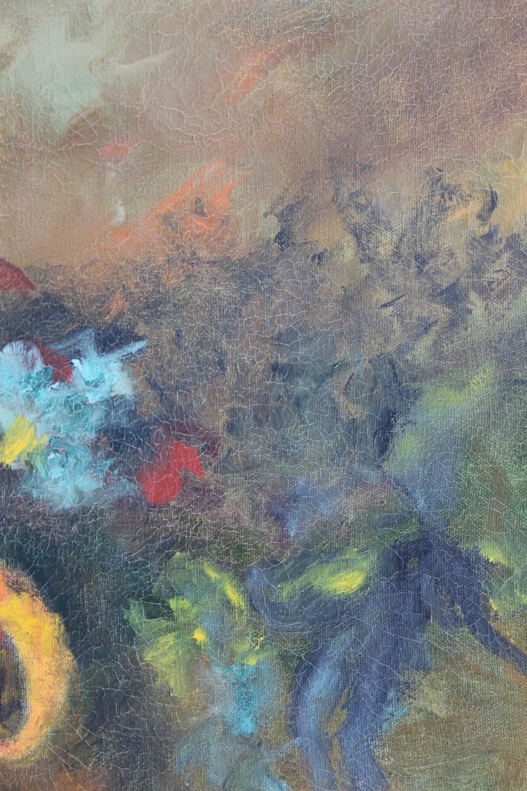 Abstract expressionist yellow toned painting of a collection of figures corralling a bull. Signed by the artist in the lower right corner. Framed in a black frame with silver accents.   Dimensions Without Frame: H 30 in. x W 24 in.  Artist