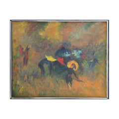 Abstract Expressionist Yellow Toned Modern Bull Fighting Painting