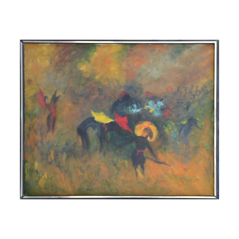 Jean Marzelle Animal Painting - Abstract Expressionist Yellow Toned Modern Bull Fighting Painting
