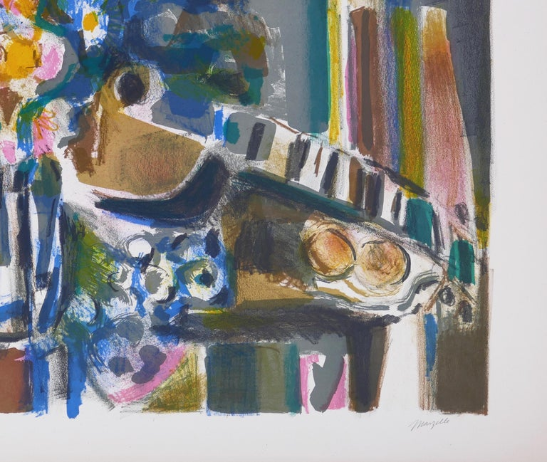 Flowers And Guitar - Original Lithograph by Jean Marzelle - 1970s For Sale 2