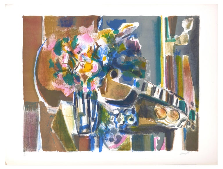 Image dimensions: 41.5 x 53.5 cm.  Flowers And Guitar is an original artwork realized by Jean Marzelle in the 1970s.  Mixed colored lithograph.  Hand-signed by the artist on the lower right. Numbered on the lower left. Edition of 61/140.  This
