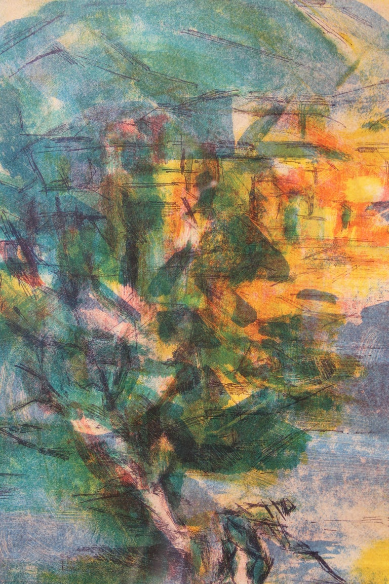 French Impressionist Landscape Lithograph Edition 30 of 275  - Brown Abstract Print by Jean Marzelle