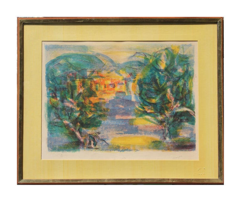 Jean Marzelle Abstract Print - French Impressionist Landscape Lithograph Edition 30 of 275