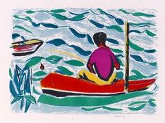 Le pêcheur - Original Lithograph by Jean Marzelle - 1970s