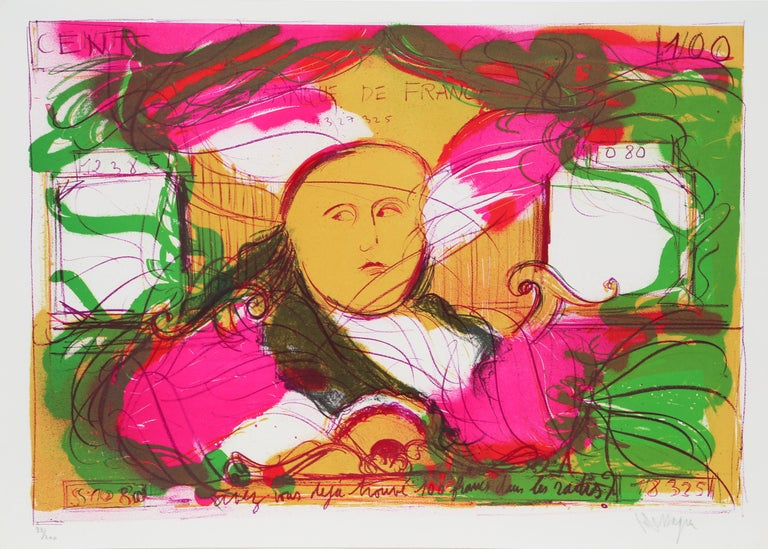 Jean Messagier Abstract Print - 100 Francs in the Radishes
