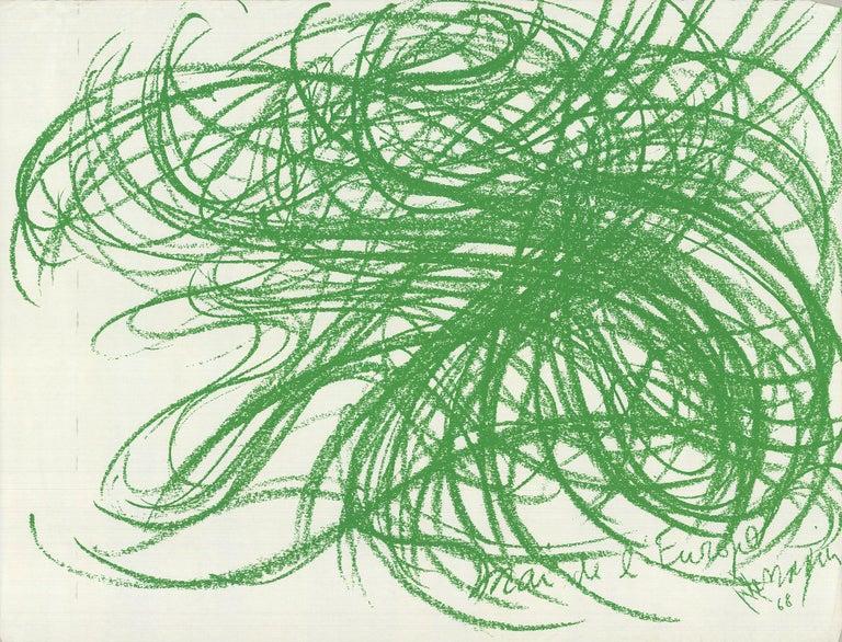 1968 Jean Messagier 'Mai de l'Europe' Lithograph - Print by Jean Messagier