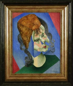 Odette, Fille de l'Artiste by JEAN METZINGER - oil on panel, cubist portrait