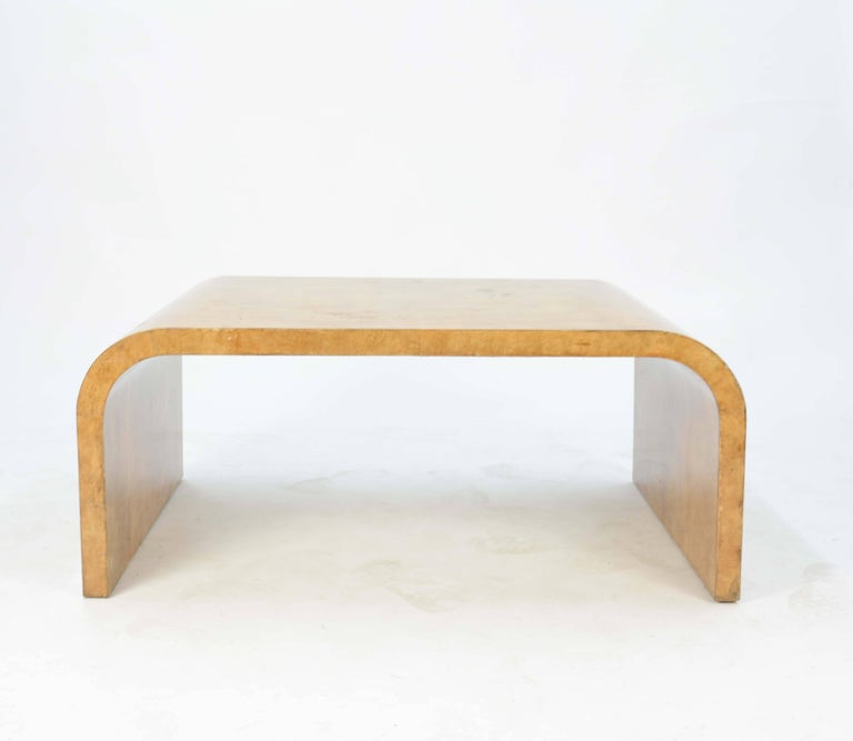Mid-Century Modern Jean Michael Frank Style Parchment Waterfall Coffee Table For Sale
