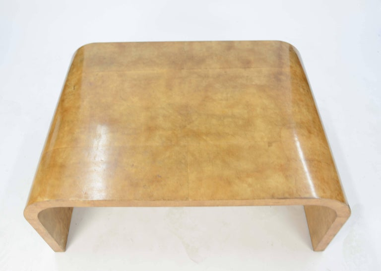 French Jean Michael Frank Style Parchment Waterfall Coffee Table For Sale