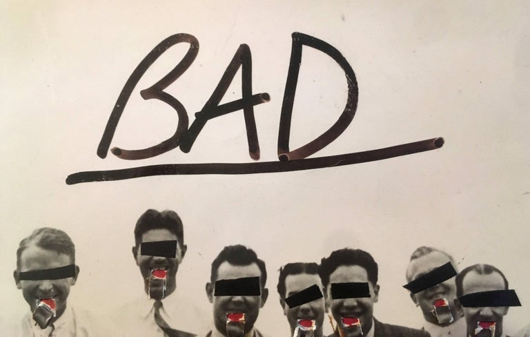 Jean-Michel Basquiat (untitled), 'Bad', 1979 Basquiat produced this original collage for the fourth issue of author Luc Sante's downtown-art scene publication, 'Stranded' (New York, 1980). The work was constructed under Basquiat's post SAMO alias,