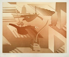 Untitled [Homme Volant] - Original Lithograph by J.M. Folon