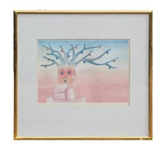 Abstract Pastel Figurative Lithograph Edition 2 of 25