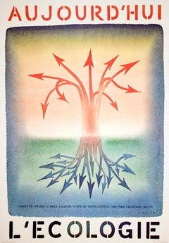"""Jean-Michel Folon-Aujourd'Hui L'Ecologie-24.75"""" x 17.25""""-Poster-1981-Surrealism"""