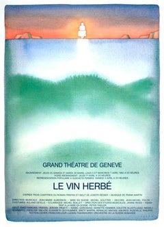 """Jean-Michel Folon-Le Vin Herbe-34.75"""" x 25.5""""-Poster-1982-Green, Multicolor"""
