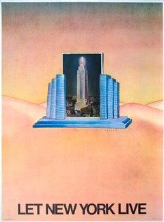 "Jean-Michel Folon-Let New York Live-31"" x 23""-Poster-1980-Surrealism-Pastel"