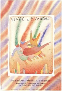 """Jean-Michel Folon-Vivre L'energie-24"""" x 16.25""""-Poster-1982-Surrealism-Multicolor"""