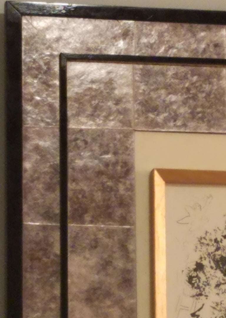 Veneer Art Frame Laminated in Mica with parchment center panel. For Sale