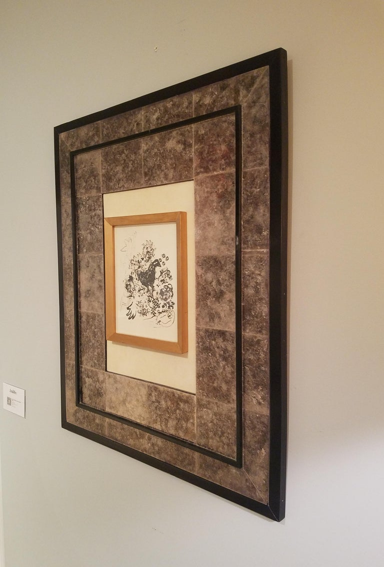 Art Frame Laminated in Mica with parchment center panel. In New Condition For Sale In Brooklyn, NY