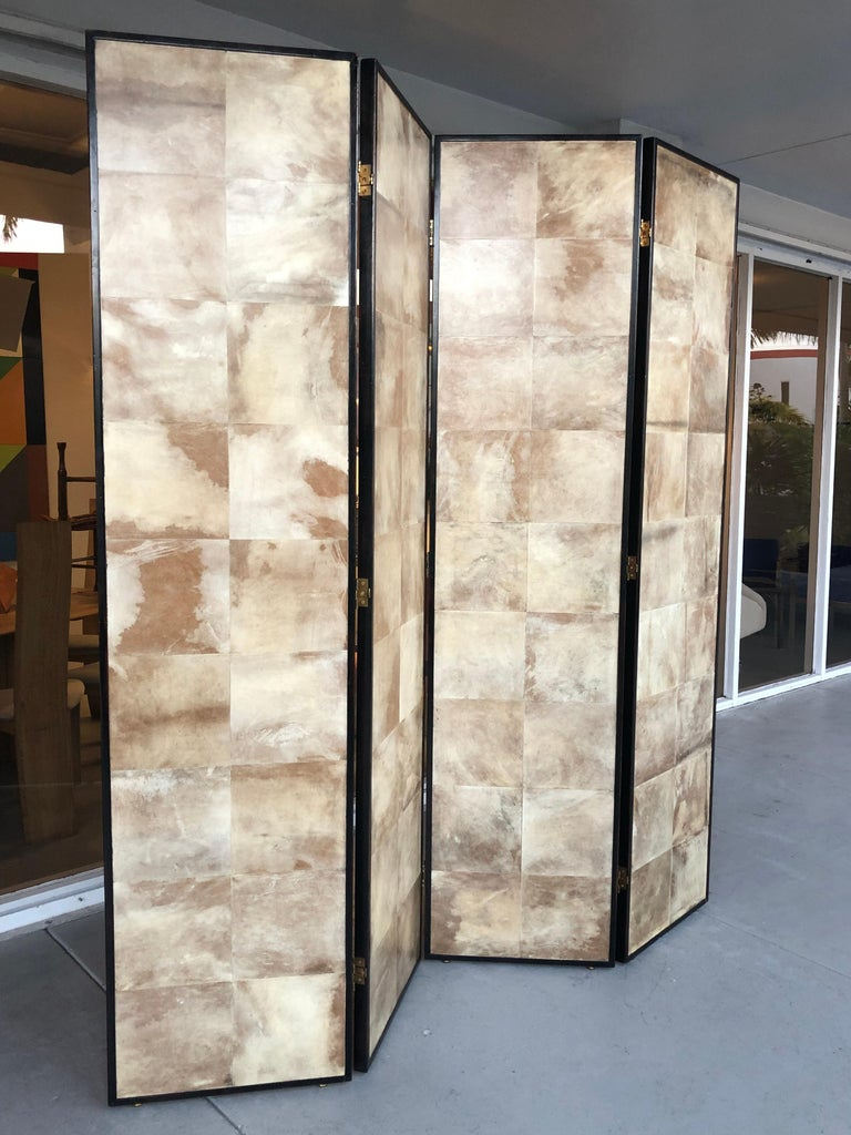 Jean-Michel Frank Manner Large Parchment Screen Room Divider For Sale 6