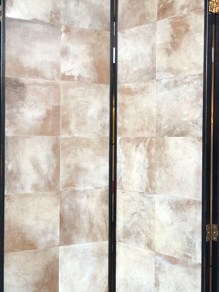 American Jean-Michel Frank Manner Large Parchment Screen Room Divider For Sale