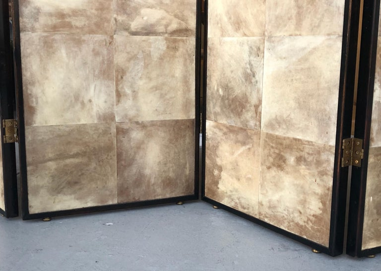 Late 20th Century Jean-Michel Frank Manner Large Parchment Screen Room Divider For Sale