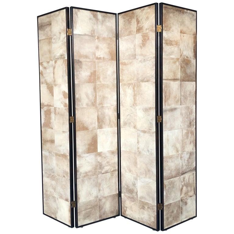 Jean-Michel Frank Manner Large Parchment Screen Room Divider For Sale