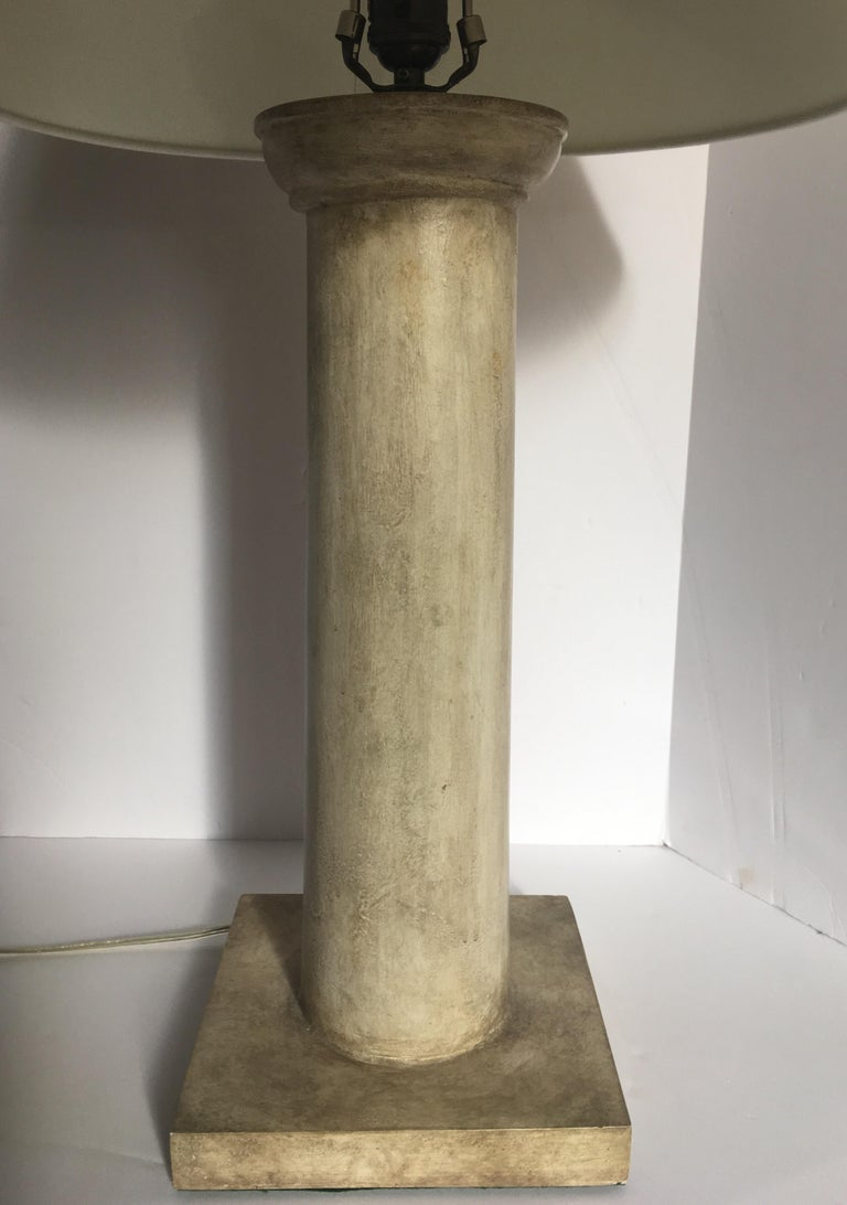 Neoclassical Revival Jean-Michel Frank Style Modern Plaster Column Table Lamp For Sale