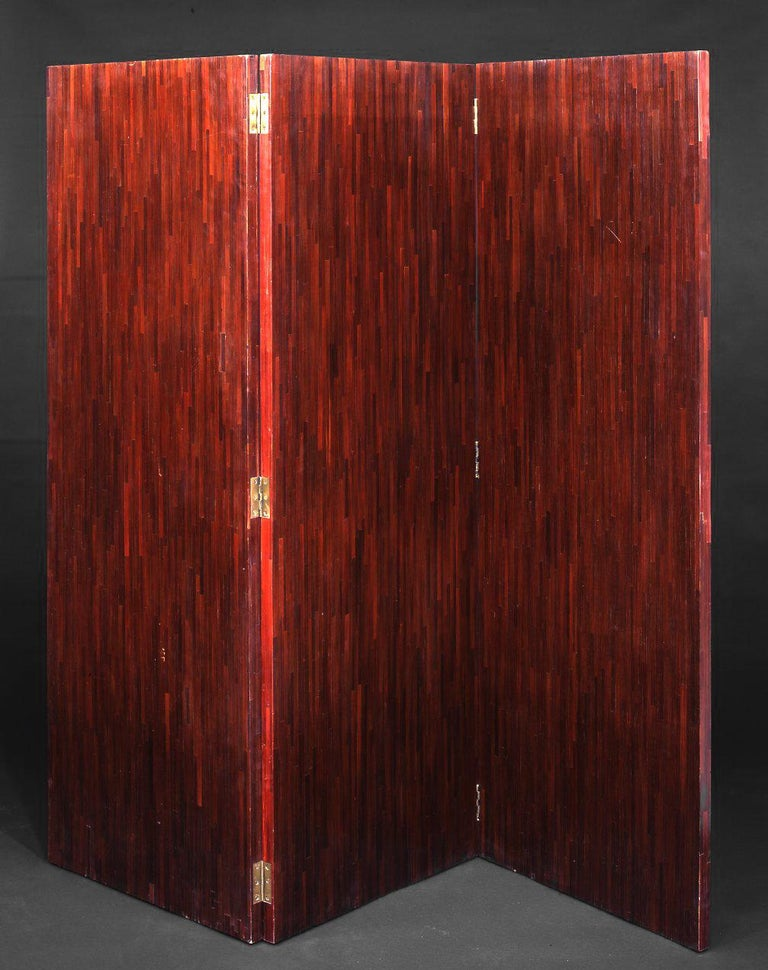 French Jean-Michel Frank, Straw Marquetry Folding Screen For Sale
