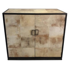 Jean Michel Frank Style Bar Cabinet Console with Goatskin Decoration