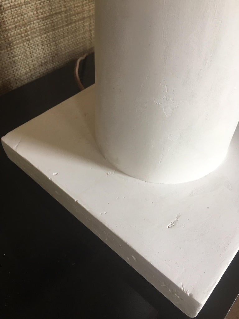 Jean Michel Frank Style Columnar Plaster Table Lamp For