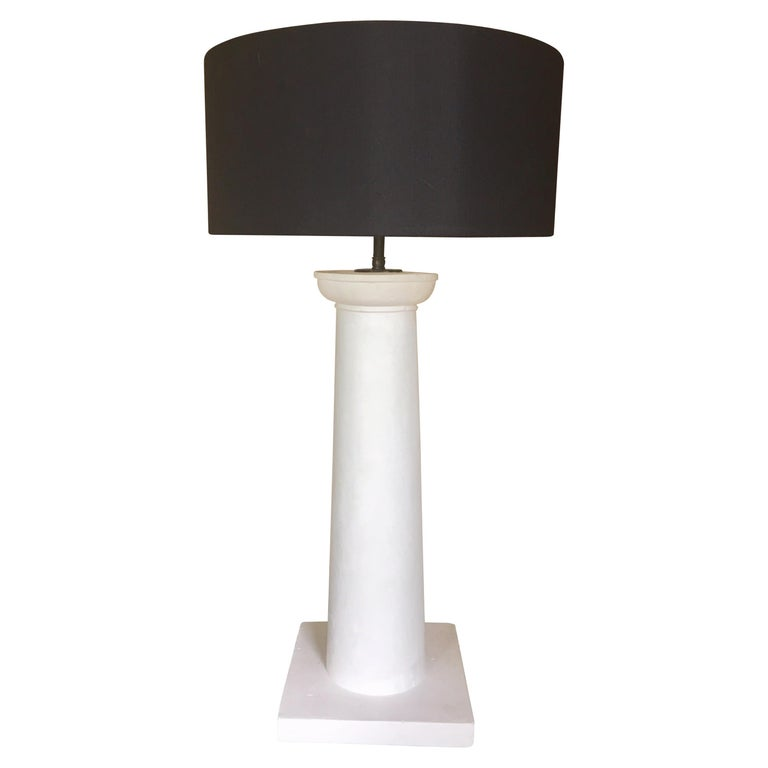 Jean-Michel Frank Style Columnar Plaster Table Lamp For Sale