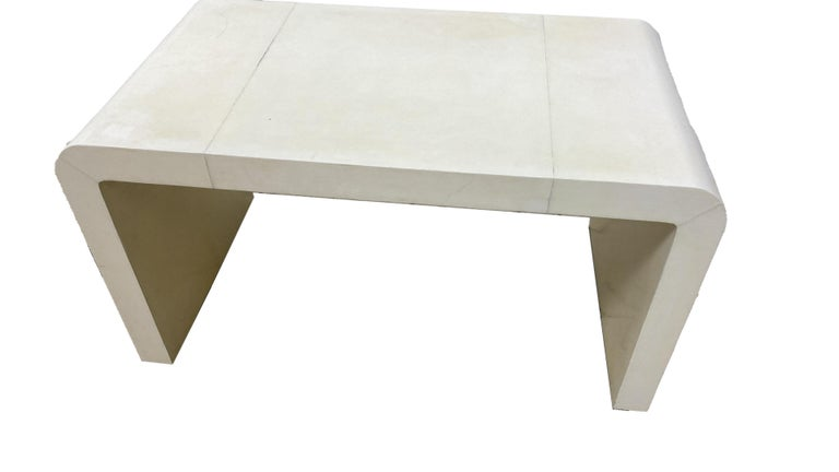 French Jean-Michel Frank Style Goatskin Parchment Waterfall Side Table For Sale