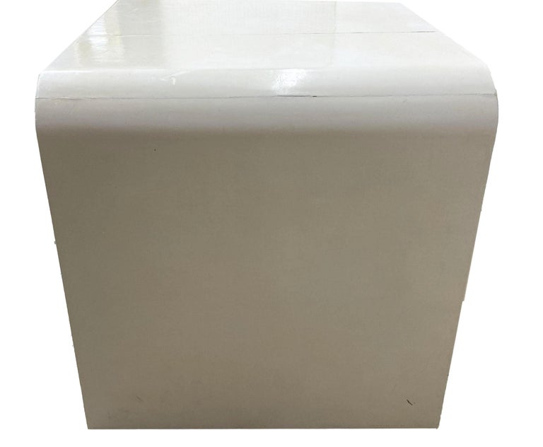 Jean-Michel Frank Style Goatskin Parchment Waterfall Side Table In Good Condition For Sale In Wichita, KS