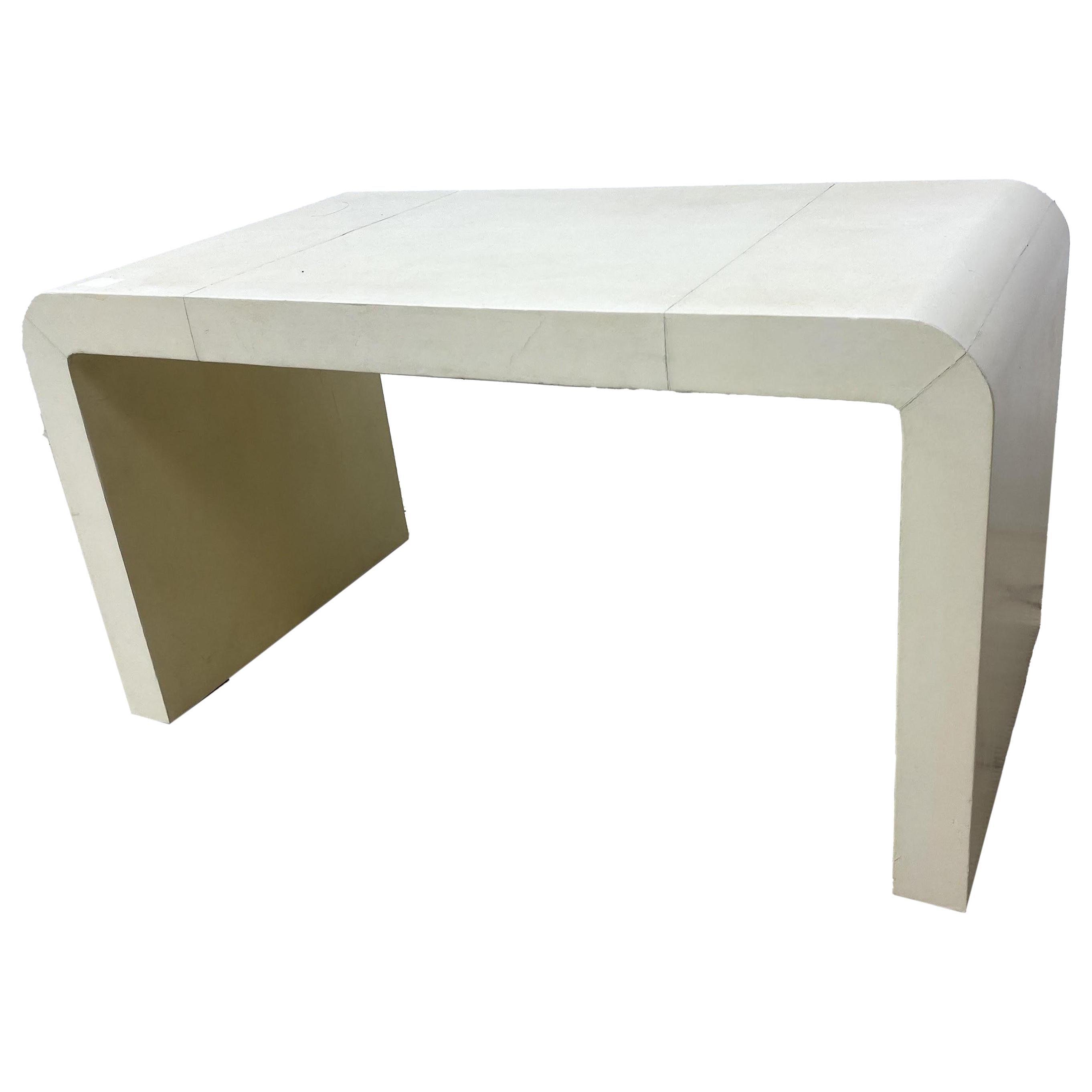 Jean-Michel Frank Style Goatskin Parchment Waterfall Side Table