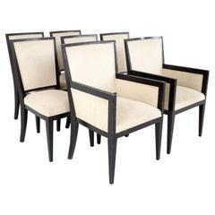 Jean Michel Frank Style Mattaliano MCM Ebonized Mahogany Dining Chairs, Set 7