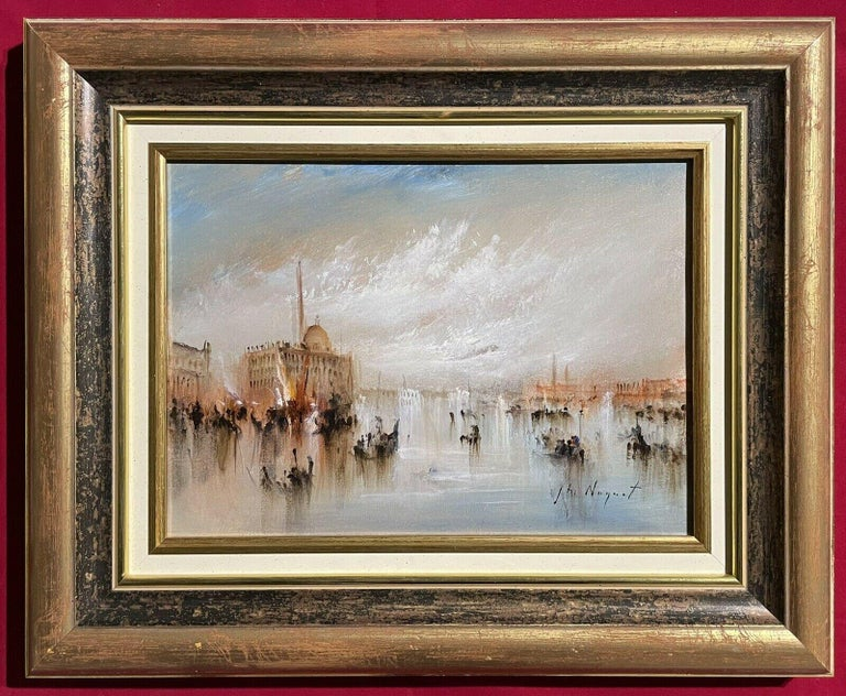 FRENCH SIGNED OIL - HAZY VENETIAN LAGOON VENICE WITH MANY BOATS AND ACTIVITY - Painting by Jean Michel Noquet