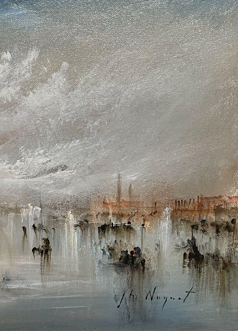 FRENCH SIGNED OIL - HAZY VENETIAN LAGOON VENICE WITH MANY BOATS AND ACTIVITY - Gray Figurative Painting by Jean Michel Noquet