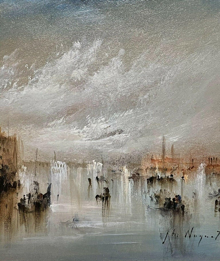 FRENCH SIGNED OIL - HAZY VENETIAN LAGOON VENICE WITH MANY BOATS AND ACTIVITY For Sale 1