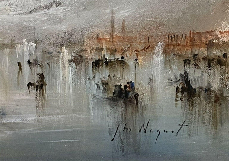FRENCH SIGNED OIL - HAZY VENETIAN LAGOON VENICE WITH MANY BOATS AND ACTIVITY For Sale 2