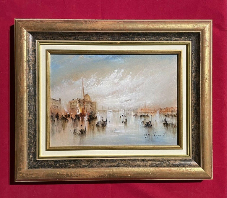 FRENCH SIGNED OIL - HAZY VENETIAN LAGOON VENICE WITH MANY BOATS AND ACTIVITY For Sale 3