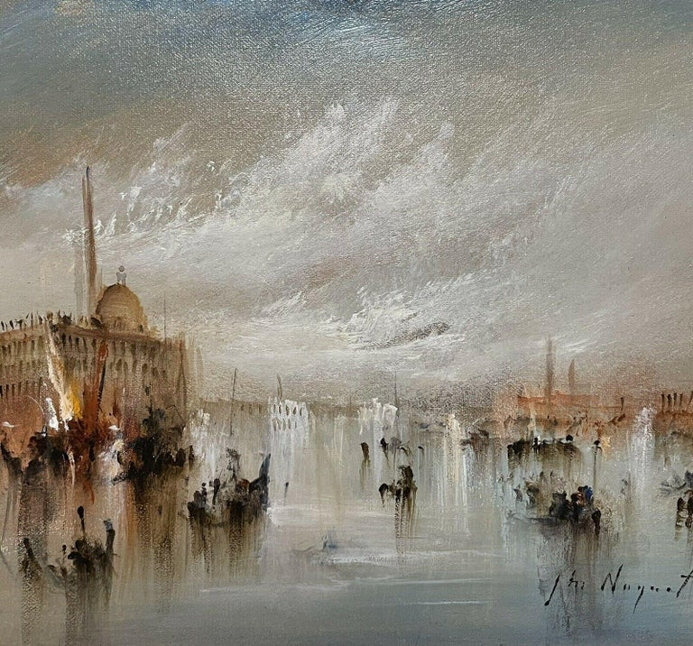 Jean Michel Noquet Figurative Painting - FRENCH SIGNED OIL - HAZY VENETIAN LAGOON VENICE WITH MANY BOATS AND ACTIVITY