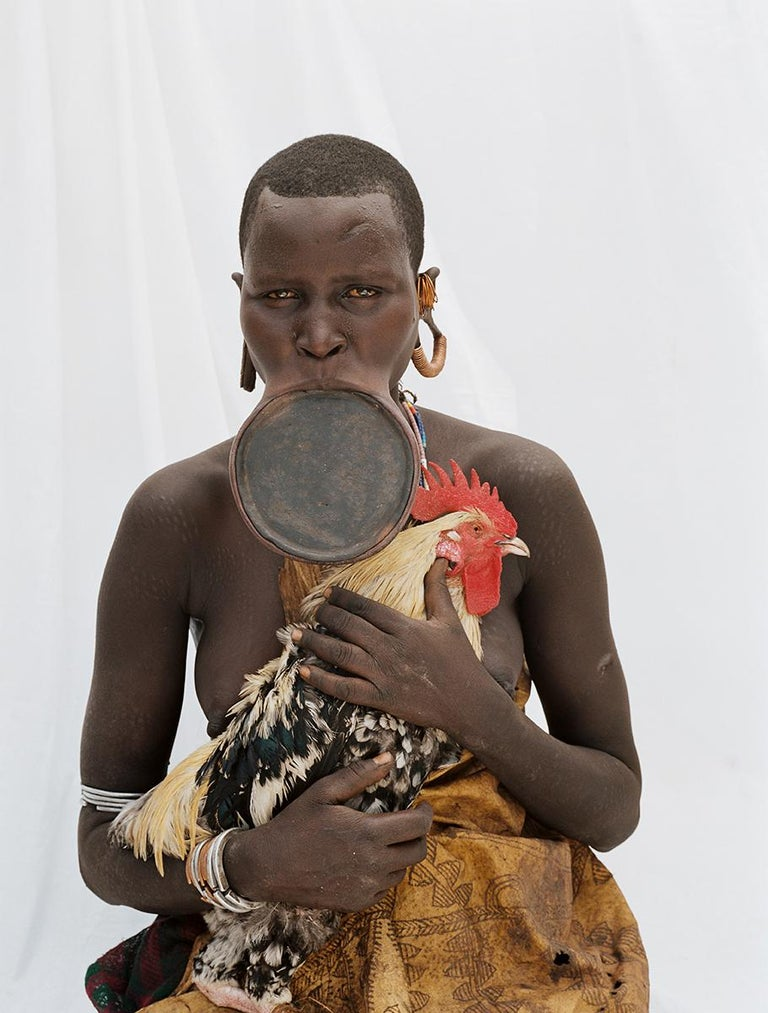 Jean-Michel Voge Portrait Photograph - Rooster, Tribal Woman Ethiopia, Africa, Photo on Japanese Paper Limited Edition
