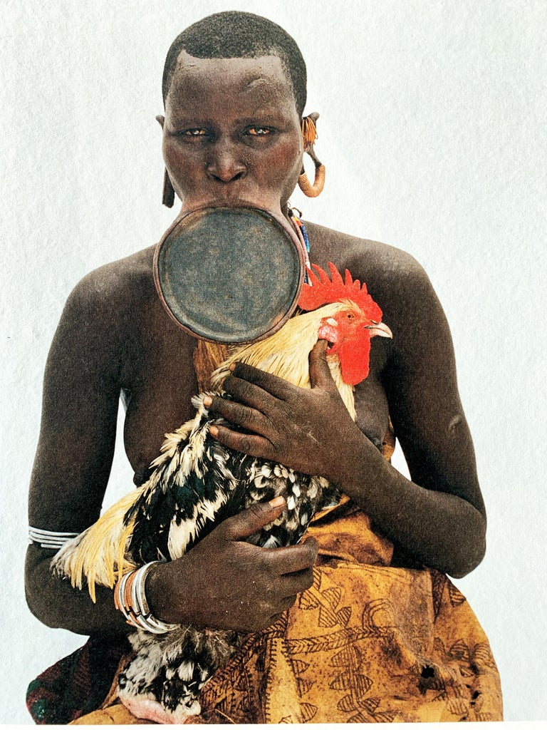 Rooster, Tribal Woman Ethiopia, Africa, Photo on Japanese Paper Limited Edition - Contemporary Photograph by Jean-Michel Voge