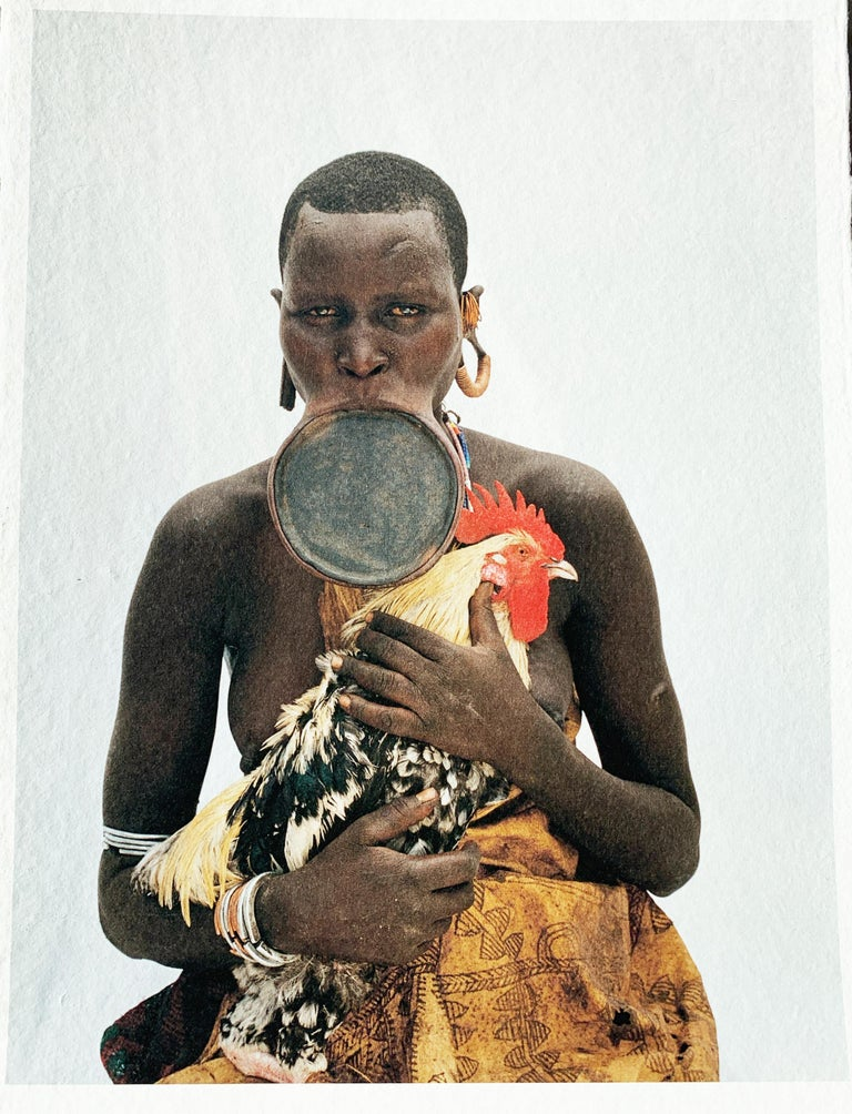 Rooster, Tribal Woman Ethiopia, Africa, Photo on Japanese Paper Limited Edition - Photograph by Jean-Michel Voge
